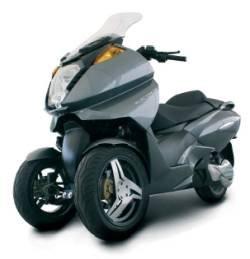 Prototipo de una motocicleta eléctrica de 3 ruedas.